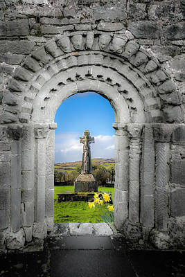 Photograph - Medieval Arch And High Cross, County Clare, Ireland by James Truett