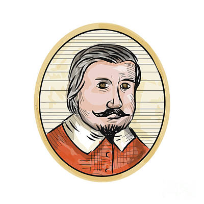 Aristocrat Digital Art - Medieval Aristocrat Gentleman Oval Woodcut by Aloysius Patrimonio