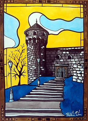 Art Print featuring the painting Medieval Bastion -  Mace Tower Of Buda Castle Hungary By Dora Hathazi Mendes by Dora Hathazi Mendes