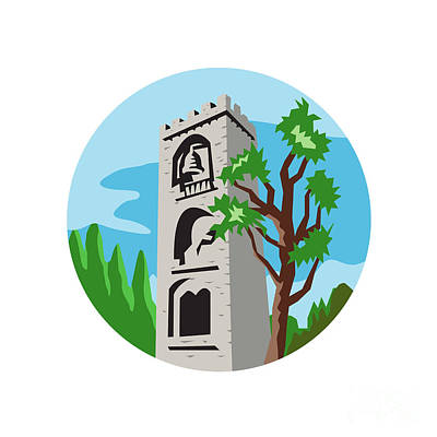 Belfry Digital Art - Medieval Bell Tower Circle Retro by Aloysius Patrimonio