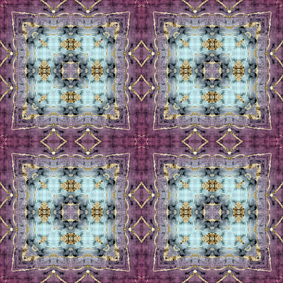 Digital Art - Batik Inspired Blue And Purple Panels With Gold Detail by Ruth Moratz