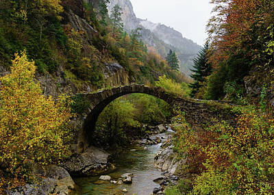 Graduation Sayings - Medieval bridge on the Belagua river near Isaba in Navarre, Spai by Hans Schrodter
