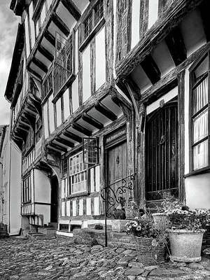 Photograph - Medieval British Architecture - Dick Turpin's Cottage Thaxted In Black And White by Gill Billington