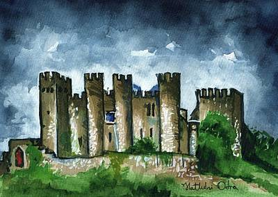 Painting - Medieval Castle Before Storm by Dora Hathazi Mendes