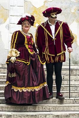 Beaded Gloves Photograph - Medieval Couple 2015 Carnevale Di Venezia Italia by Sally Rockefeller