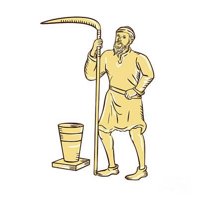 Agriculture Digital Art - Medieval Farmer Holding Scythe Etching by Aloysius Patrimonio