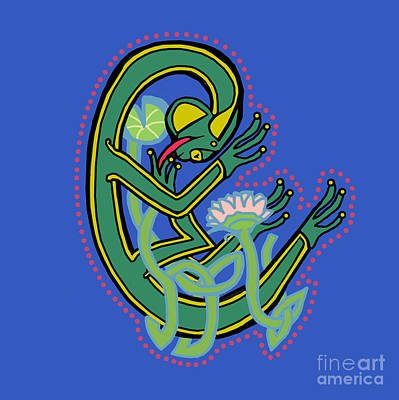 Digital Art - Medieval Frog Letter C by Donna Huntriss