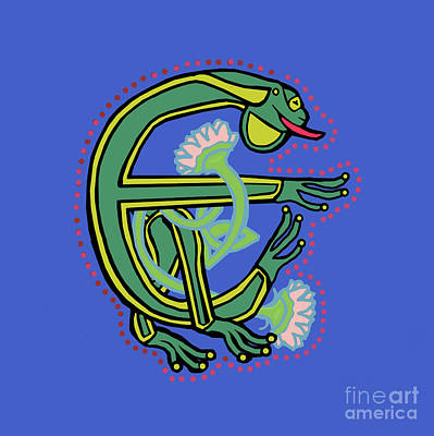 Digital Art - Medieval Frog Letter E by Donna Huntriss