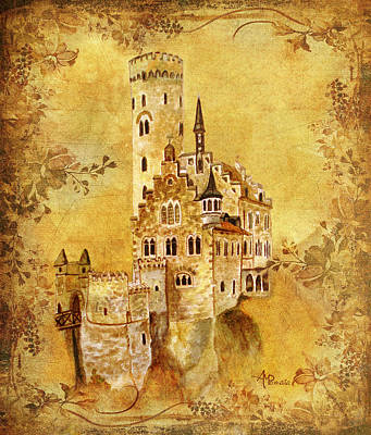 Knights Castle Painting - Medieval Golden Castle by Angeles M Pomata