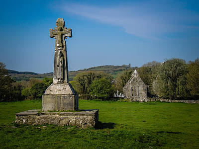 Photograph - Medieval High Cross In Irish Pasture by James Truett