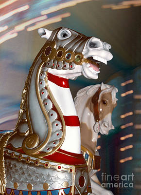 Photograph - medieval horse in armor - Silver War Horse by Sharon Hudson