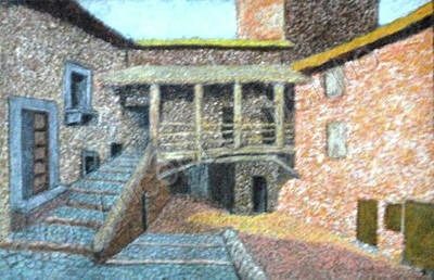 Colored Pencil Painting - Medieval Houses In Rome - Color Pencils Version by Vincent Consiglio