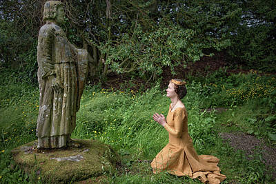 Medieval Lady Praying To Saint Ninian 2 Art Print