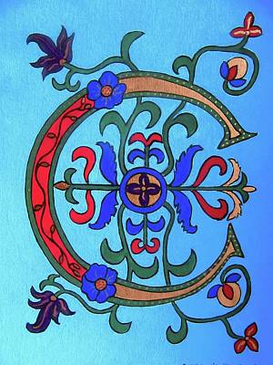 Painting - Medieval Letter C by Stephanie Moore