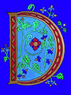 Painting - Medieval Letter D by Stephanie Moore