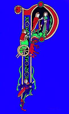Painting - Medieval Letter P by Stephanie Moore