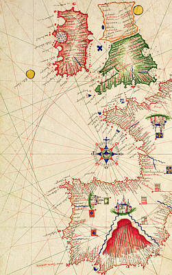 Vellum Drawing - Medieval Map Of Europe, From Carte Geografiche by Jacopo Russo