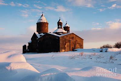 Photograph - Medieval Saghmosavank Monastery Covered By Snow At Sunset, Armenia by Gurgen Bakhshetsyan