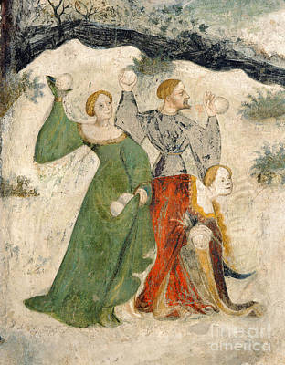 Boule Painting - Medieval Snowball Fight by Maestro Venceslao