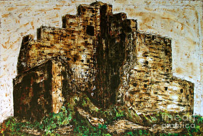 Painting - Medieval Split Tower, Rome Landscape  Landscape Expressionism Series by Alessandro Nesci