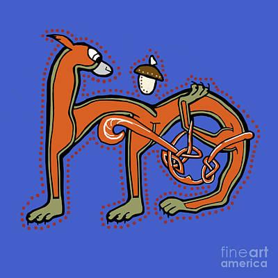 Digital Art - Medieval Squirrel Letter M by Donna Huntriss