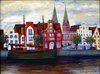 Lubeck Painting - Medieval Town In Lubeck Germany by Art Nomad Sandra  Hansen
