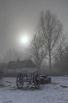 Snow Photograph - Medieval Village - Wagon by Jan Boesen