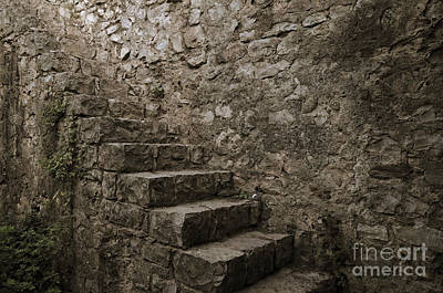 Staircase Photograph - Medieval Wall Staircase. Sepia Digital Art by Angelo DeVal