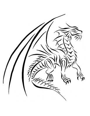 Medievil Dragon Tribal Line Black White Art Print by Tina Barnash