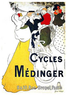 Mixed Media - Medinger Cycles - Bicycle - Vintage Advertising Poster  by Studio Grafiikka