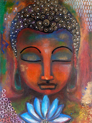 Meditating Buddha With A Blue Lotus Art Print