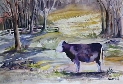 New York Painting - Meditating Cow by Joseph Giuffrida
