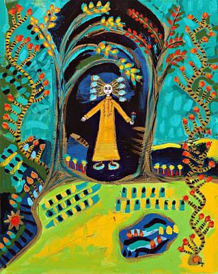 Painting - Meditating Master In Fantasy Garden  by Maggis Art