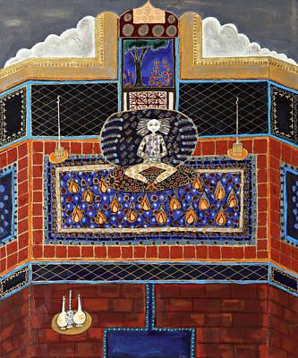 Meditating Master In Tiled Courtyard Art Print by Maggis Art