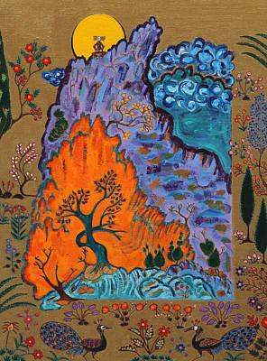 Meditating Master On Mountain Top Art Print by Maggis Art