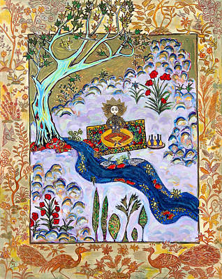 Meditating Master Under A Tree Art Print by Maggis Art