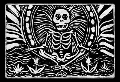 Linoleum Mixed Media - Meditating Skeleton by Katherine Nutt