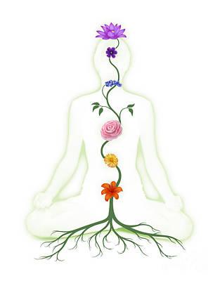Meditating Woman With Chakras Shown As Flowers Art Print