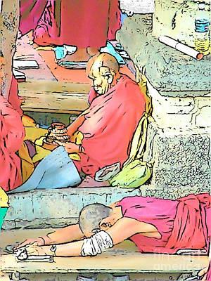 Photograph - Meditation And Prostration At Bodh Gaya by Lisa Dunn