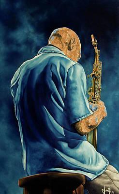 Saxophon Painting - Meditation by Inaki Massini Pontis