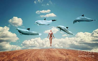 Dolphin Digital Art - Meditation by Jacky Gerritsen