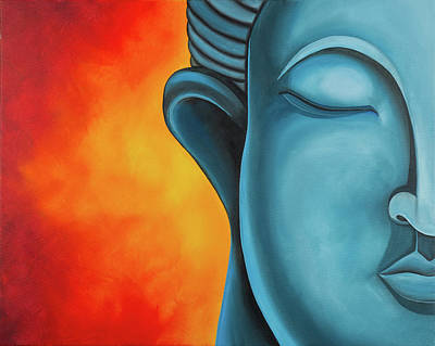 Buddha Face Painting - Meditation by Lael Borduin