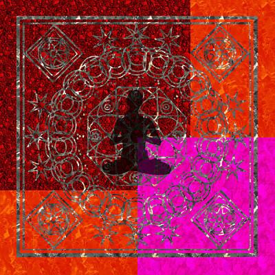 Digital Art - Meditation Mandala Yoga Red Pink Orange  by ReadyForYoga