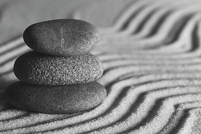 Photograph - Meditation Stones Number 1 Black And White by Andrew Pacheco