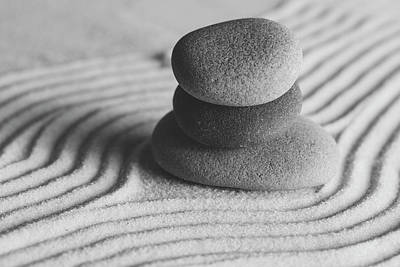 Photograph - Meditation Stones Number 2 Black And White by Andrew Pacheco