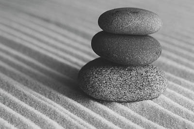 Photograph - Meditation Stones Number 3 Black And White by Andrew Pacheco