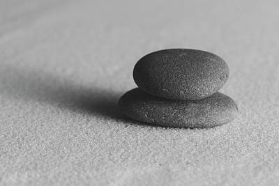 Photograph - Meditation Stones On Smooth Sand Black And White by Andrew Pacheco