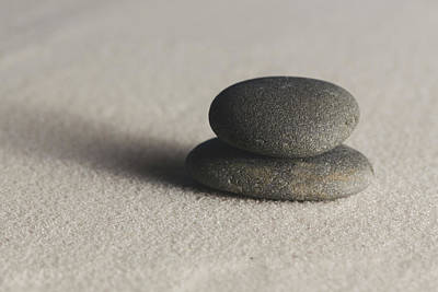 Photograph - Meditation Stones On Smooth Sand Color by Andrew Pacheco