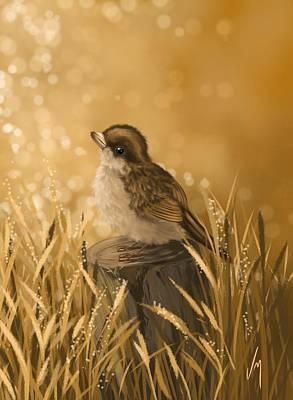 Little Birds Painting - Meditation by Veronica Minozzi