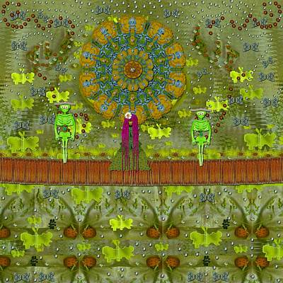 Strawberry Mixed Media - Meditative Garden Got Visit Of Lady Panda And The Floral Skulls by Pepita Selles